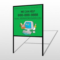 Cartoon Computer 431 H Frame Sign