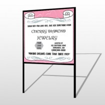 Scroll Pink Heart 397 H Frame Sign