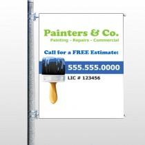 Blue Paint Brush 305 Pole Banner