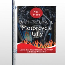 Motorcycle Flame 107 Pole Banner