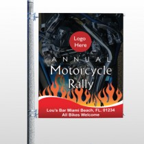 Motorcycle Flame 322 Pole Banner