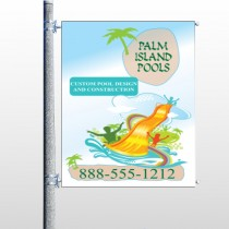 Palm Island Pool 534 Pole Banner