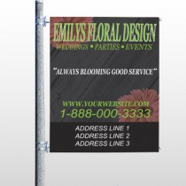 Black And Floral 496 Pole Banner