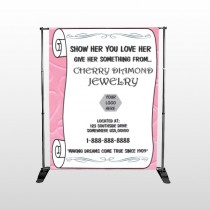Scroll Pink Heart 397 Pocket Banner Stand