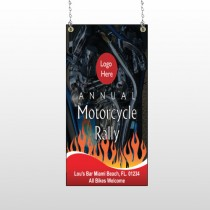 Motorcycle Flame 322 Window Sign