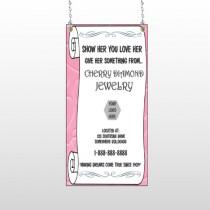 Scroll Pink Heart 397  Window Sign