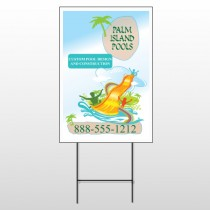 Palm Island Pool 534 Wire Frame Sign