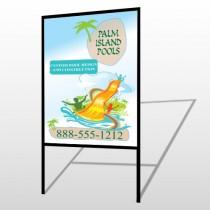 Palm Island Pool 534 H Frame Sign