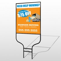 Blue Moving 294 Round Rod Sign