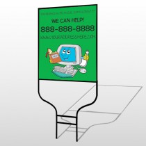 Cartoon Computer 431 Round Rod Sign