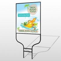 Palm Island Pool 534 Round Rod Sign