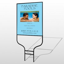 Paradise Pool 529 Round Rod Sign
