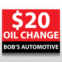 $20 Oil Change Sign Panel