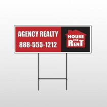 Red House Rent 360 Wire Frame Sign