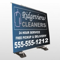 Dry Cleaners 24 Exterior Pocket Banner Stand