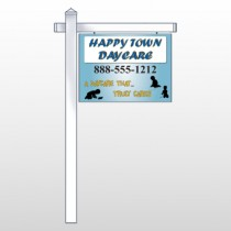 "True Happy Care 182 18""H x 24""W Swing Arm Sign"