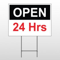 Open 24 Hours 84 Wire Frame Sign
