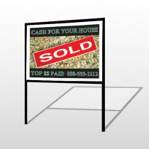 Cash Sold 250 H-Frame Sign