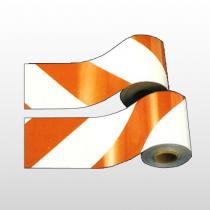 "Reflective Barricade Sheeting Orange/White RIGHT Stripe 8""x 150'"