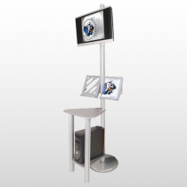Linear Monitor Kiosk with Table & Brochure Holders