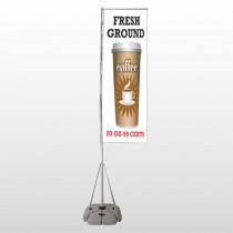 Coffee 119 Exterior Flag Banner Stand