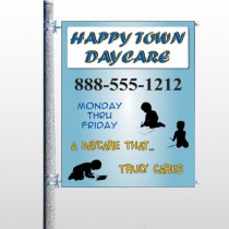 True Happy Care Pole Banner