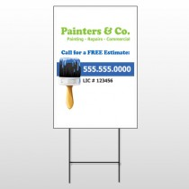 Blue Paint Brush 305 Wire Frame Sign